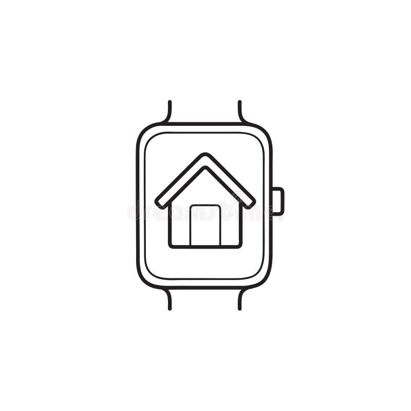 Relógio esperto com ícone tirado mão da garatuja do esboço da casa ilustração do vetor