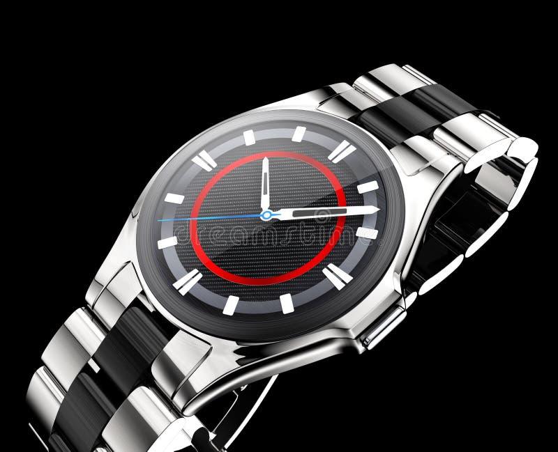Relógio esperto com a banda de metal isolada no fundo preto ilustração stock