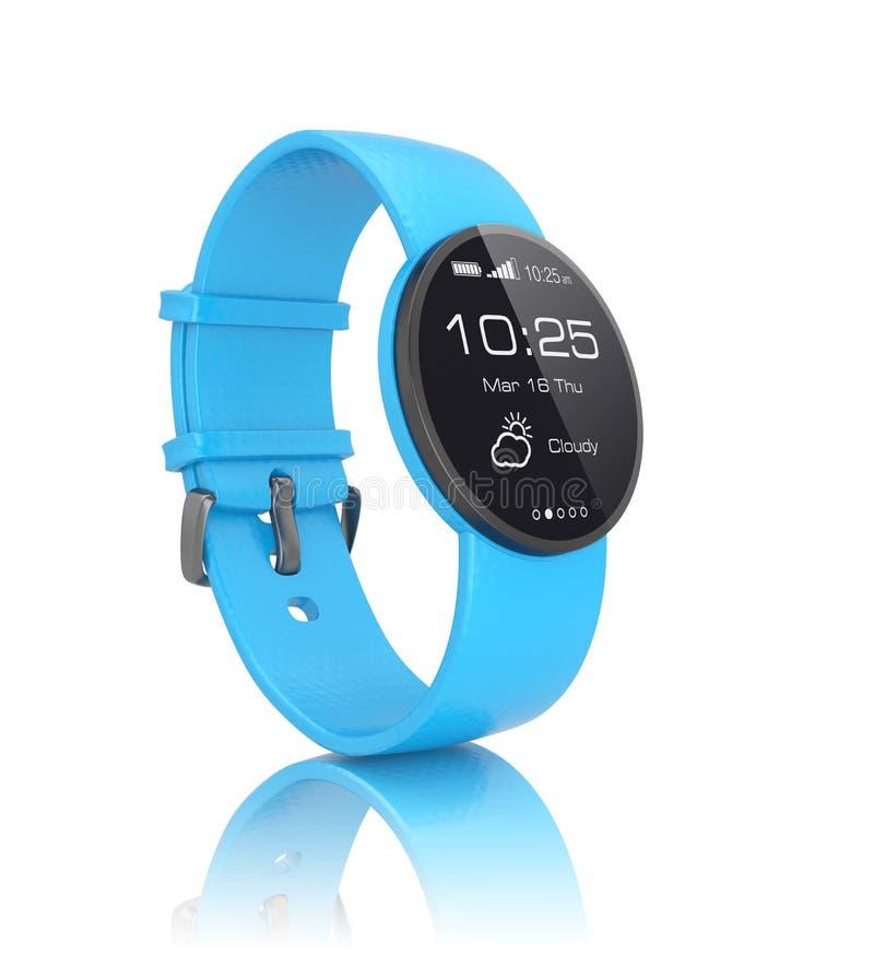 Relógio esperto com a faixa de relógio azul no fundo branco ilustração do vetor