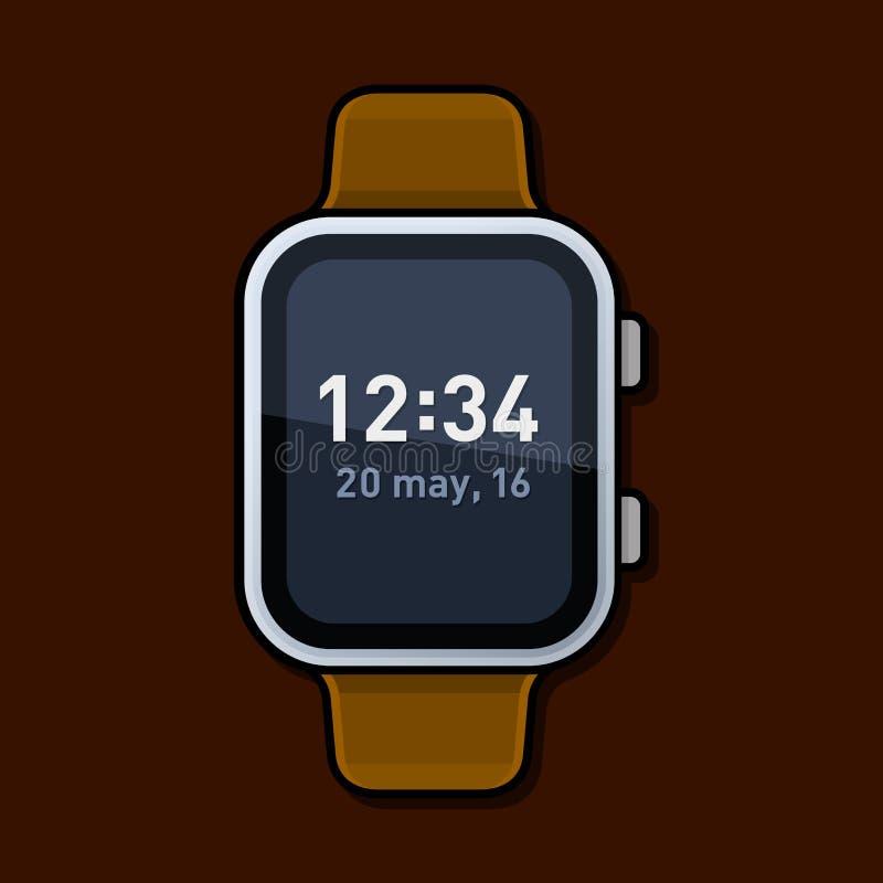 Relógio esperto com tempo de Digitas na tela Vetor ilustração stock