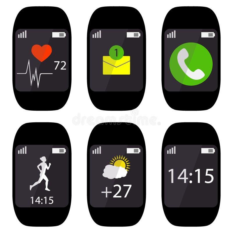 Relógio esperto da coleção com ícones na frequência cardíaca da exposição, pulso, corredor, sms da mensagem, chamada, tempo, temp ilustração do vetor
