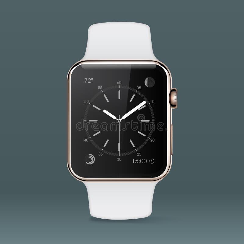 Relógio esperto da mão no fundo cinzento ilustração royalty free