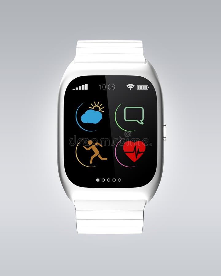 Relógio esperto de prata com projeto simples dos ícones ilustração do vetor