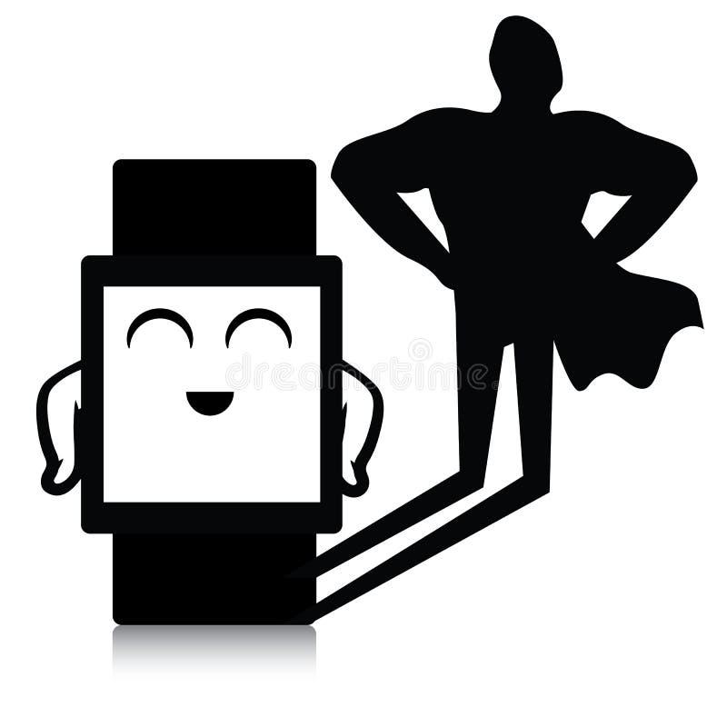 Relógio esperto do super-herói ilustração do vetor
