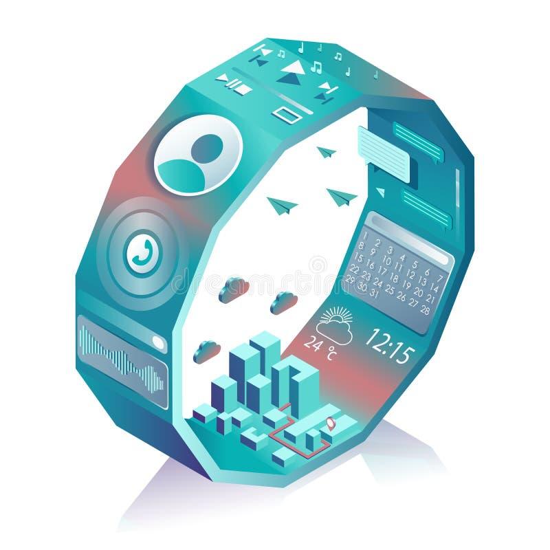 Relógio esperto estilizado isométrico Relação esperta da Web com apps e ícones diferentes para o smartwatch ou o telefone celular ilustração do vetor