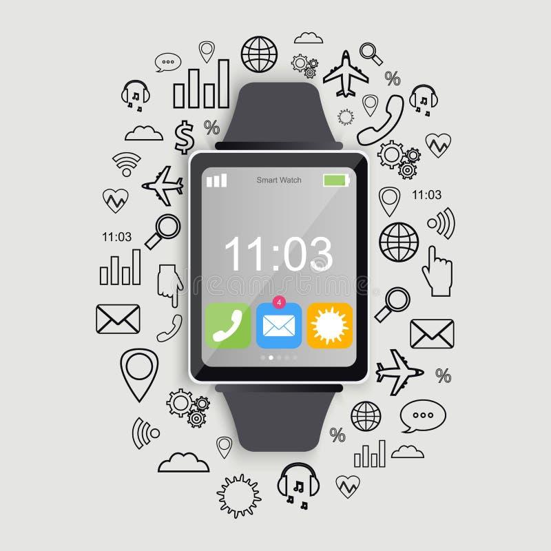 Relógio esperto moderno com ícones do app Projeto liso moderno Smartwatch na moda Vetor ilustração stock