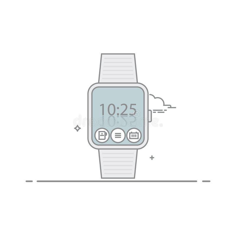 Relógio esperto O conceito da relação móvel da aplicação pulso de disparo digital ou temporizador Ícones da aplicação No branco ilustração royalty free