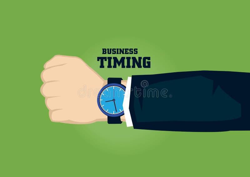 Relógio na ilustração do vetor do conceito do sincronismo do negócio do pulso ilustração do vetor