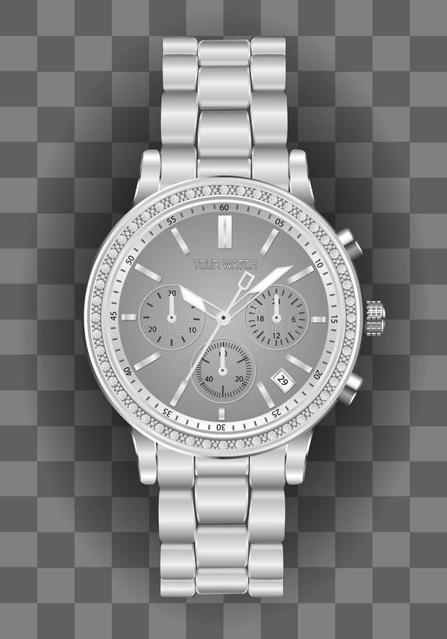 Relógio realístico do cronógrafo do pulso de disparo para a cara cinzenta do diamante de prata dos homens no vetor quadriculado d ilustração do vetor