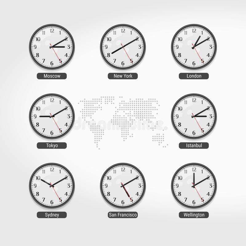Relógios de ponto do mundo Tempo atual em cidades famosas do mundo Pulsos de disparo de parede do hotel ou da bolsa de valores Ho ilustração royalty free