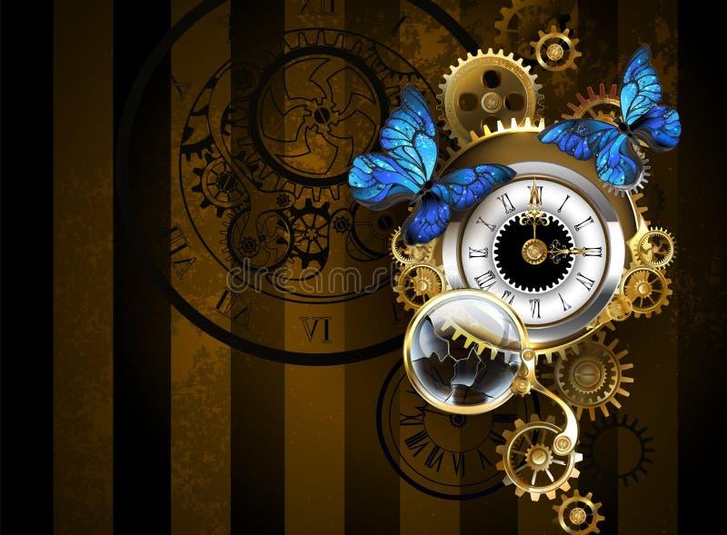 Relógios de prata com borboletas azuis ilustração royalty free