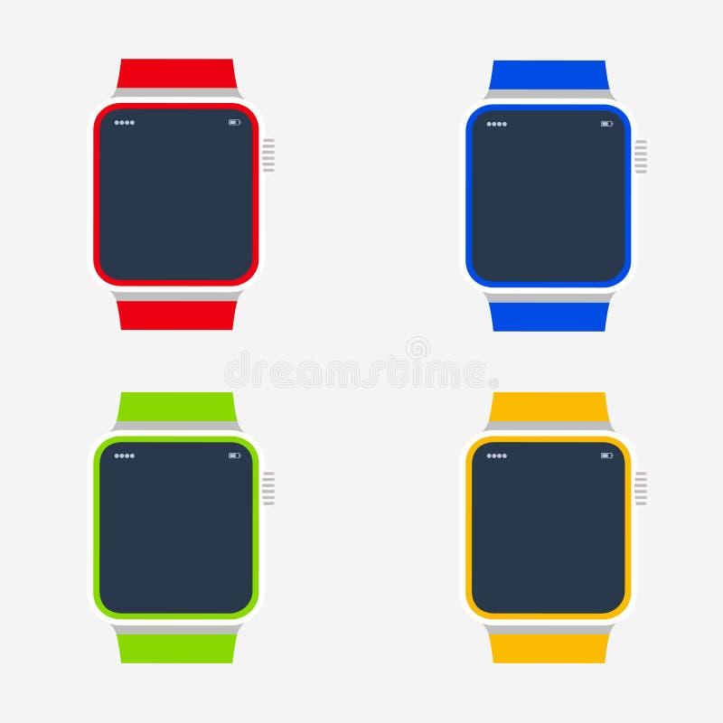 Relógios de pulso Tempo Ajuste dos relógios coloridos Ilustração do vetor Eps 10 ilustração stock