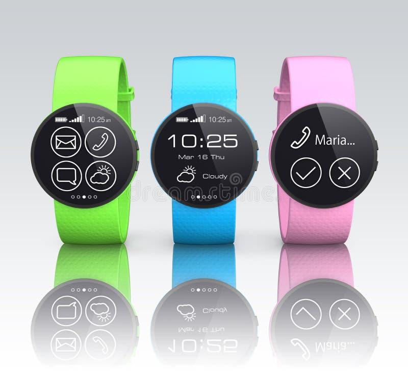 Relógios de Smart com as faixas de relógio coloridas ilustração royalty free