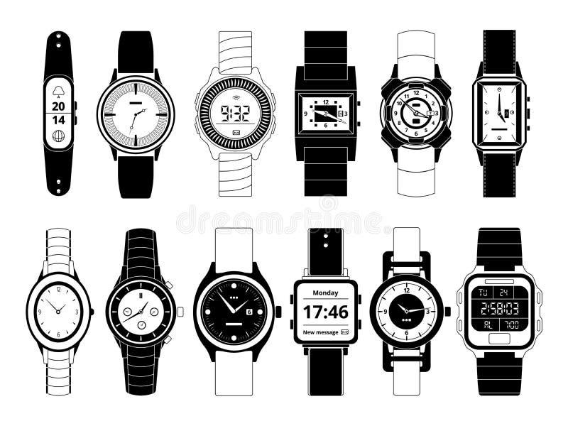 Relógios mecânicos e eletrônicos da mão do esporte no estilo monocromático Isolado ajustado imagens do vetor no branco ilustração stock