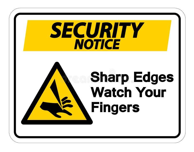 Rel?gio das bordas afiadas da observa??o da seguran?a seu sinal do s?mbolo dos dedos no fundo branco, ilustra??o do vetor ilustração stock