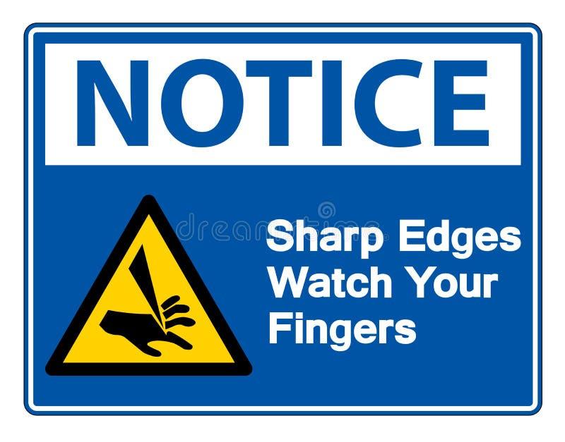 Rel?gio das bordas afiadas da observa??o seu isolado do s?mbolo dos dedos no fundo branco, ilustra??o do vetor ilustração stock