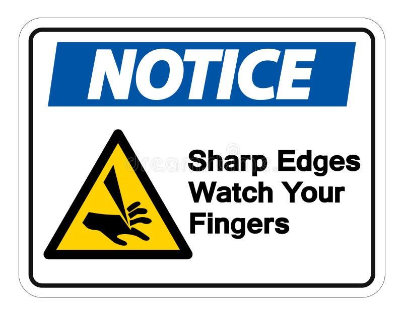 Rel?gio das bordas afiadas da observa??o seu isolado do s?mbolo dos dedos no fundo branco, ilustra??o do vetor ilustração do vetor