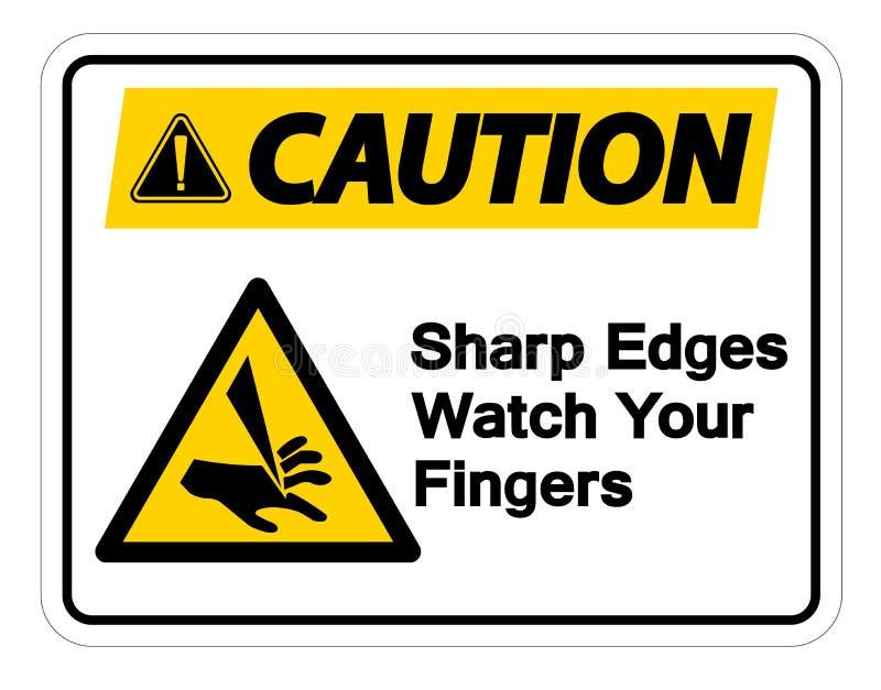 Rel?gio das bordas afiadas do cuidado seu isolado do sinal do s?mbolo dos dedos no fundo branco, ilustra??o do vetor ilustração royalty free
