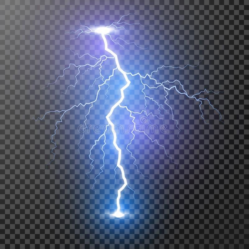 Rel?mpago Efeitos da luz m?gicos e brilhantes Ilustra??o do vetor isolada no fundo transparente ilustração do vetor