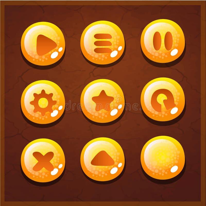 Relação ajustada dos botões do jogo UI ilustração do vetor