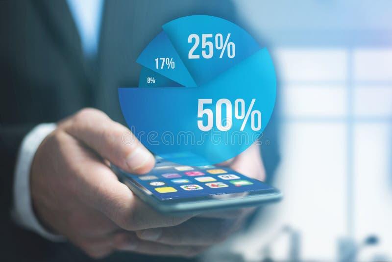 Relação azul do gráfico da avaliação com o tema do negócio que sai um smar ilustração stock