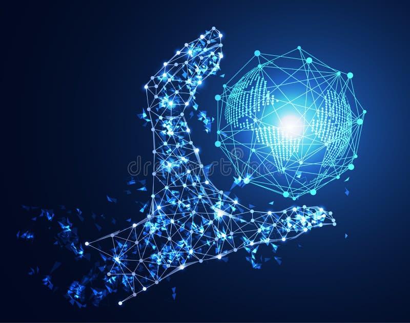 Relação da mão abstrata do conceito da tecnologia e futuro digitais o do mundo ilustração do vetor