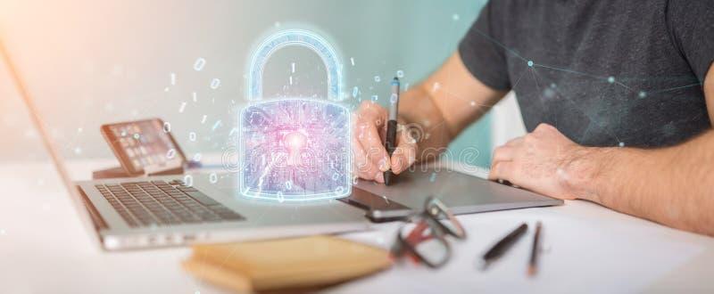 Relação da proteção de segurança da Web usada pela rendição do designer gráfico 3D ilustração stock