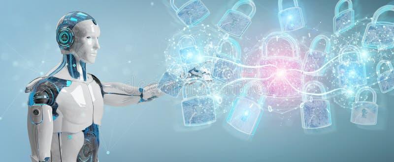 Relação da proteção de segurança da Web usada pela rendição do robô 3D ilustração do vetor