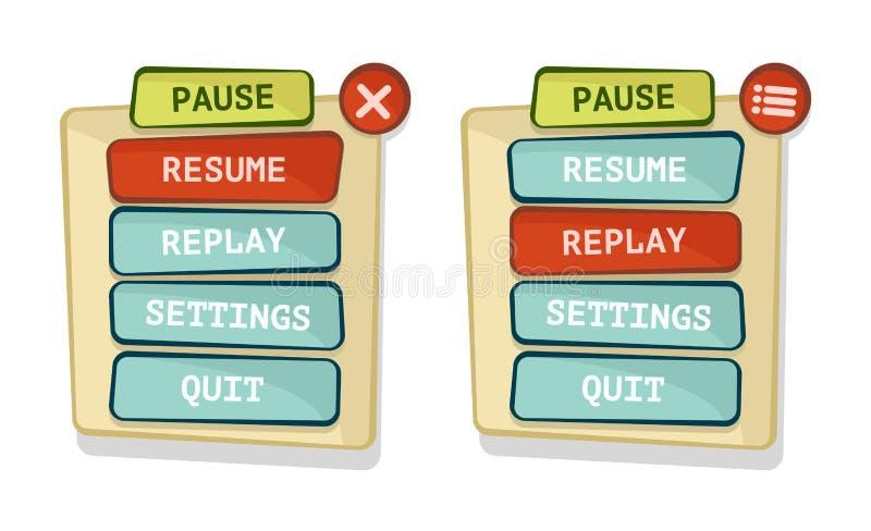 Relação de menu do jogo do vetor ilustração stock