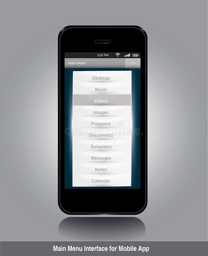 Relação de menu principal para o app móvel ilustração stock