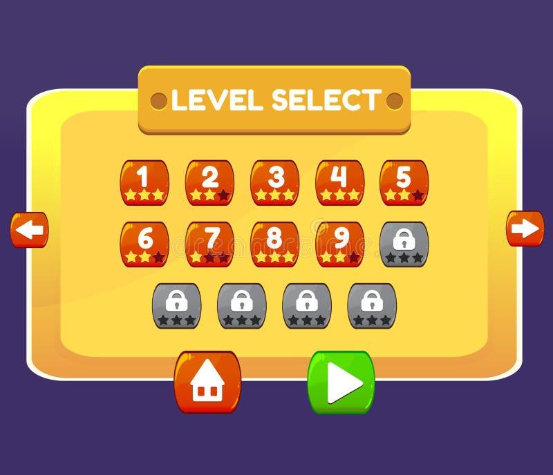 A relação de menu seleta do jogo do nível almofada botões do ui ilustração royalty free