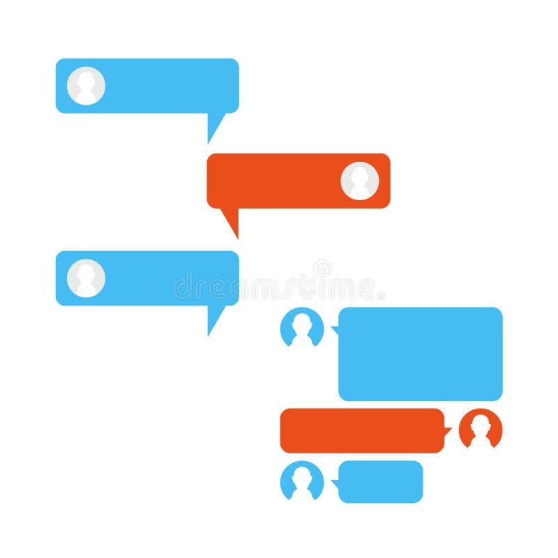 Relação do bate-papo do telefone do vetor Mensageiro, bolhas do discurso Grupo de elementos de conversa do projeto do vetor para  ilustração royalty free