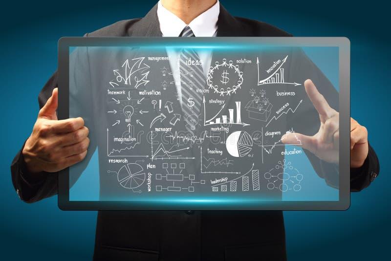 Relação do ecrã táctil com plano da estratégia empresarial do desenho ilustração royalty free