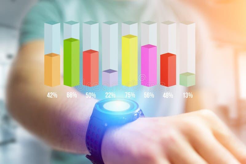 Relação do gráfico da vara da avaliação de Colorfull com porcentagem sobre um de imagens de stock royalty free