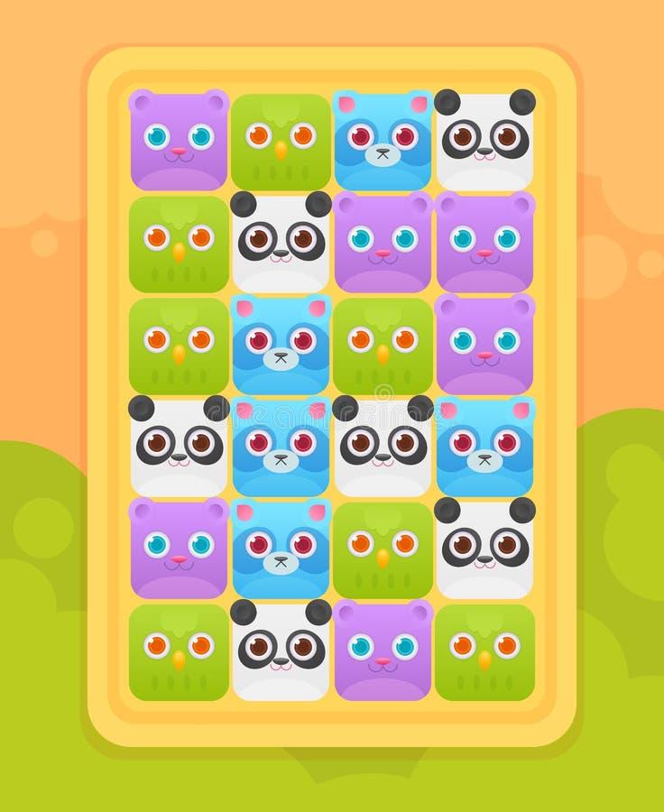 Relação do jogo do móbil do fósforo três com animais ilustração stock