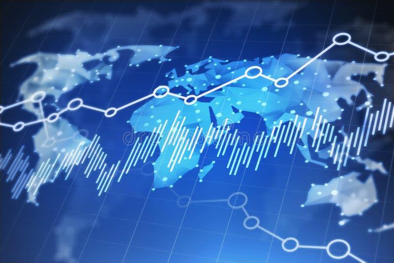 Relação do mapa do mundo e do gráfico ilustração stock