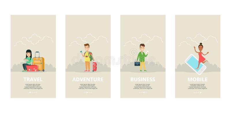 Relação do molde do vetor lisa Multidão do turismo do curso ilustração stock