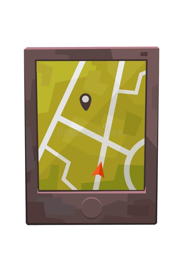Relação do navegador dos Gps com o pino do mapa e do lugar ilustração do vetor