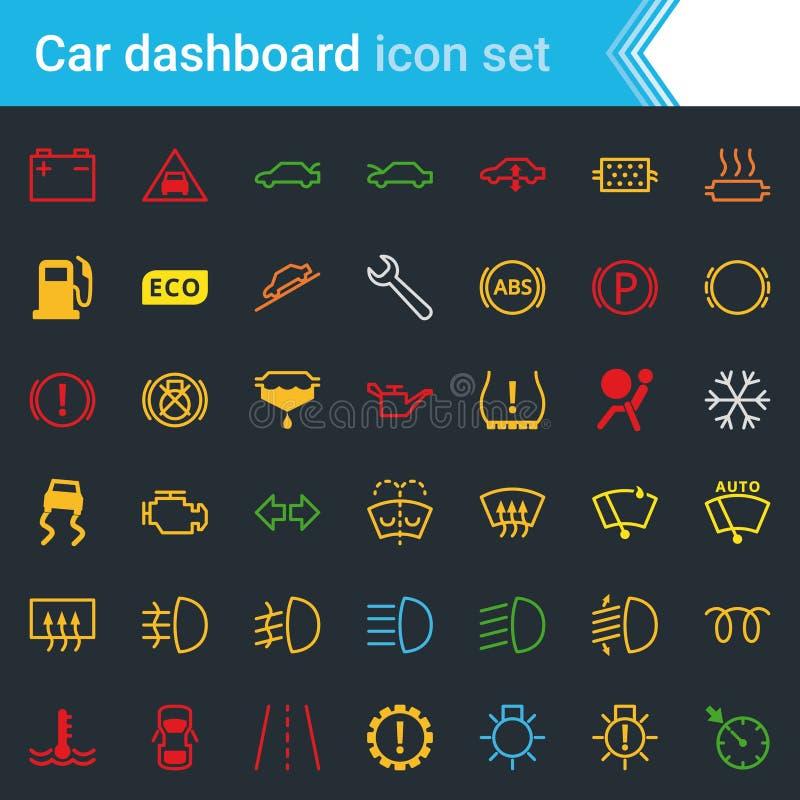 A relação do painel do carro e o ícone coloridos dos indicadores ajustam-se - preste serviços de manutenção a símbolos do vetor d ilustração stock