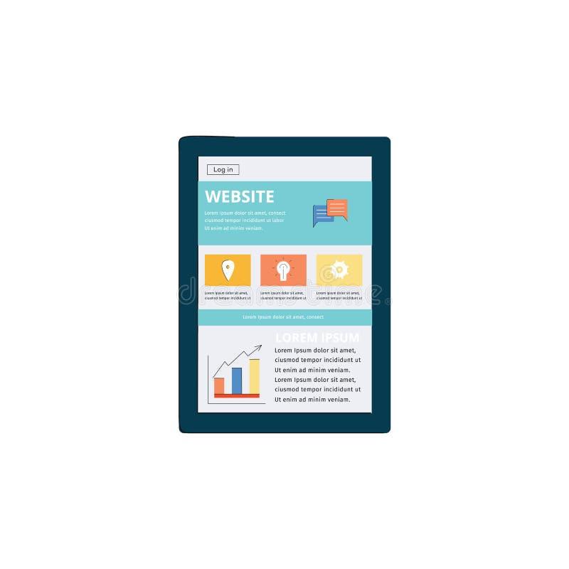 Relação do Web site na tabuleta moderna, disposição do página da web do Internet vista na tela digital do dispositivo móvel ilustração stock