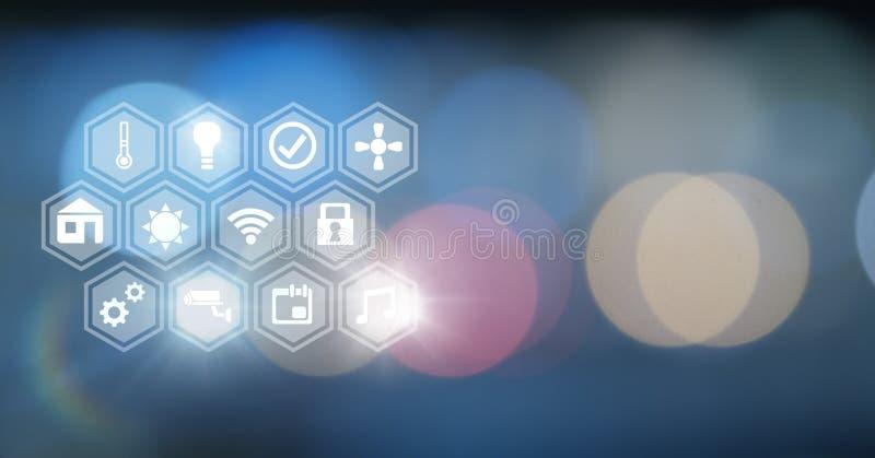 Relação dos ícones do Internet das coisas sobre o fundo macio dos sparkles da luz do bokeh ilustração stock