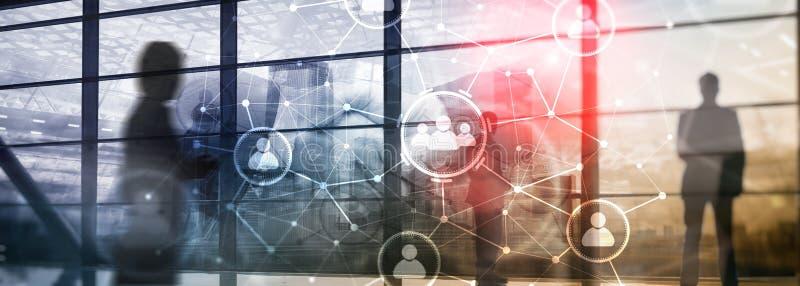 Relação dos povos e estrutura de organização Media sociais Conceito da tecnologia do negócio e de comunicação fotografia de stock