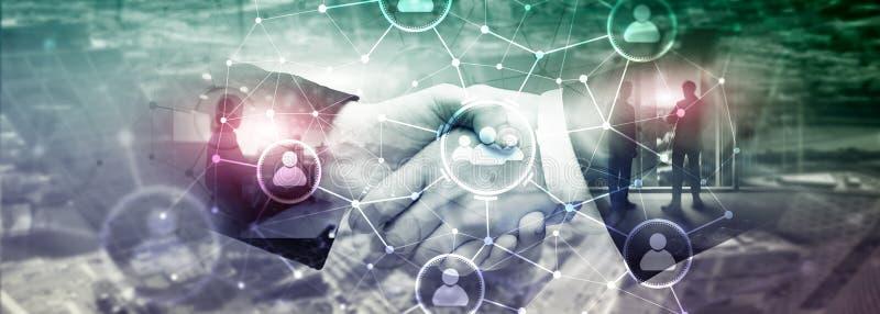 Relação dos povos e estrutura de organização Media sociais Conceito da tecnologia do negócio e de comunicação imagens de stock