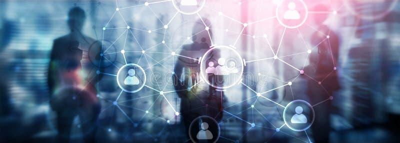 Relação dos povos e estrutura de organização Media sociais Conceito da tecnologia do negócio e de comunicação ilustração do vetor