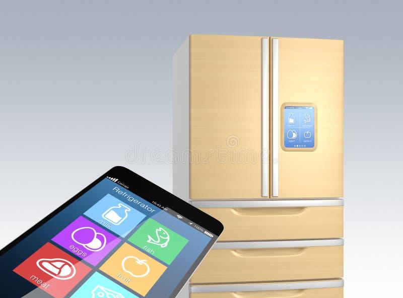 Relação esperta do telefone que mostra a informação do alimento do refrigerador ilustração do vetor