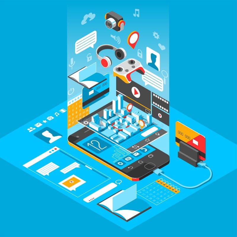Relação esperta isométrica do telefone Tela com apps e ícones diferentes ilustração do vetor 3d ilustração do vetor