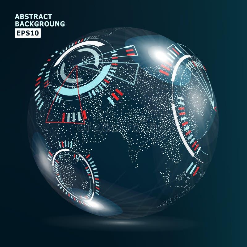Relação futurista da globalização Fundo do sumário da tecnologia das ciências da terra Ilustração do vetor ilustração royalty free
