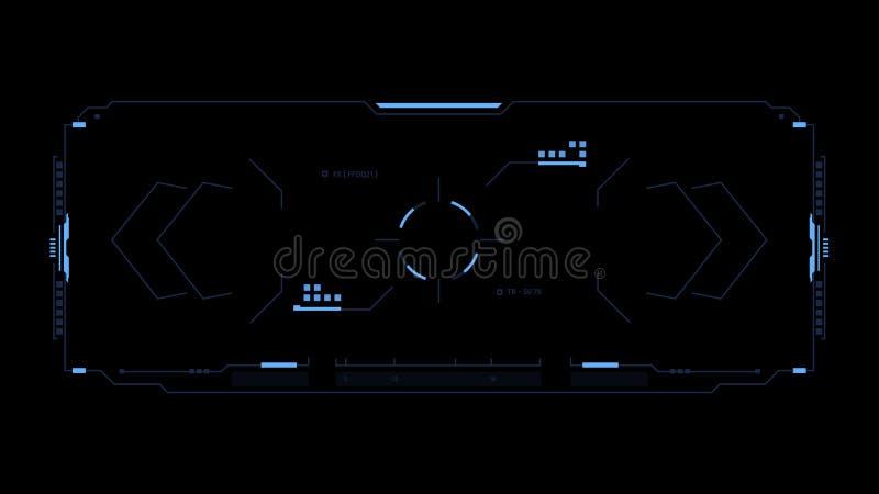 Relação futurista de Sci fi Interface de utilizador do jogo do projeto de conceito alta - tela da tecnologia Elementos de Hud ilustração do vetor