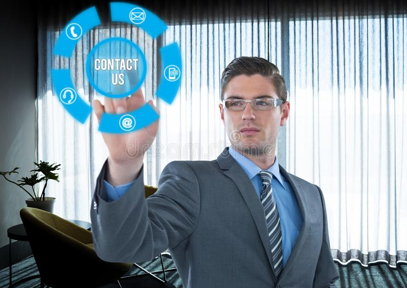 A relação futurista em um escritório com o sinal contacta-nos ilustração do vetor
