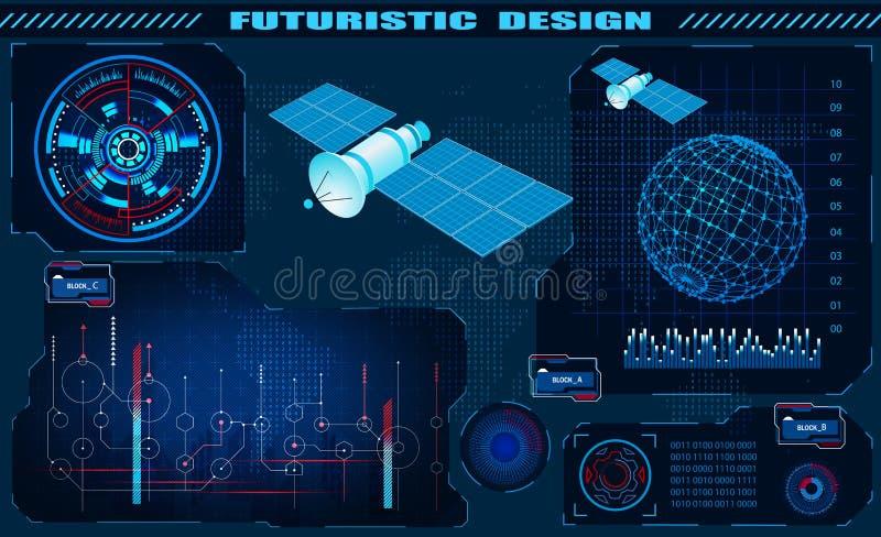 Relação gráfica futurista, controle satélite, projeto do hud, holograma do globo Ilustra??o ilustração do vetor